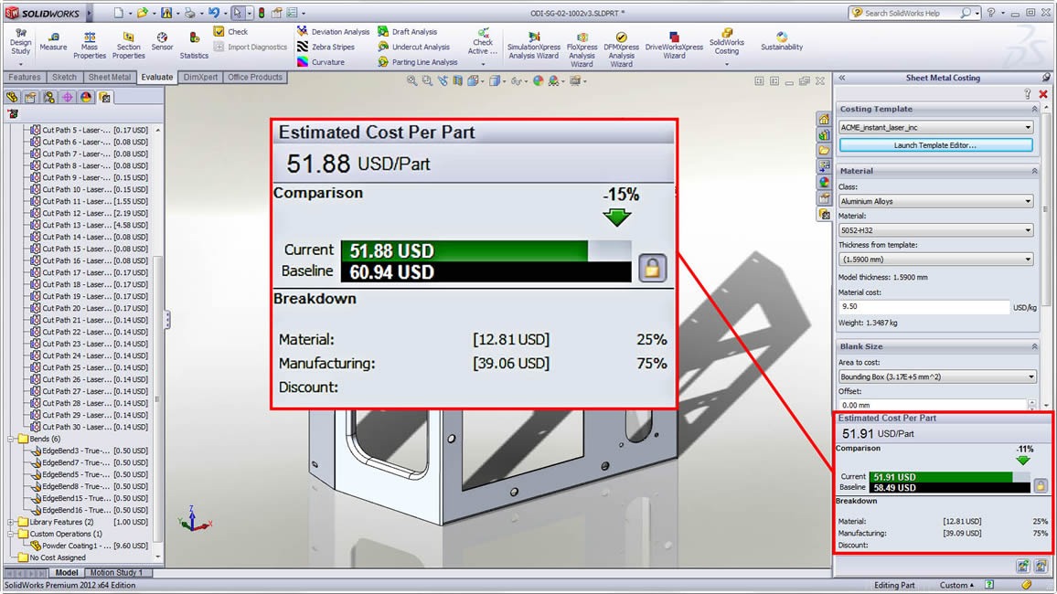 Estimate Part Manufacturing Cost with SOLIDWORKS