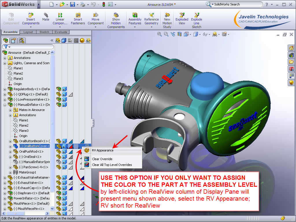 how to change color of a part in solidworks