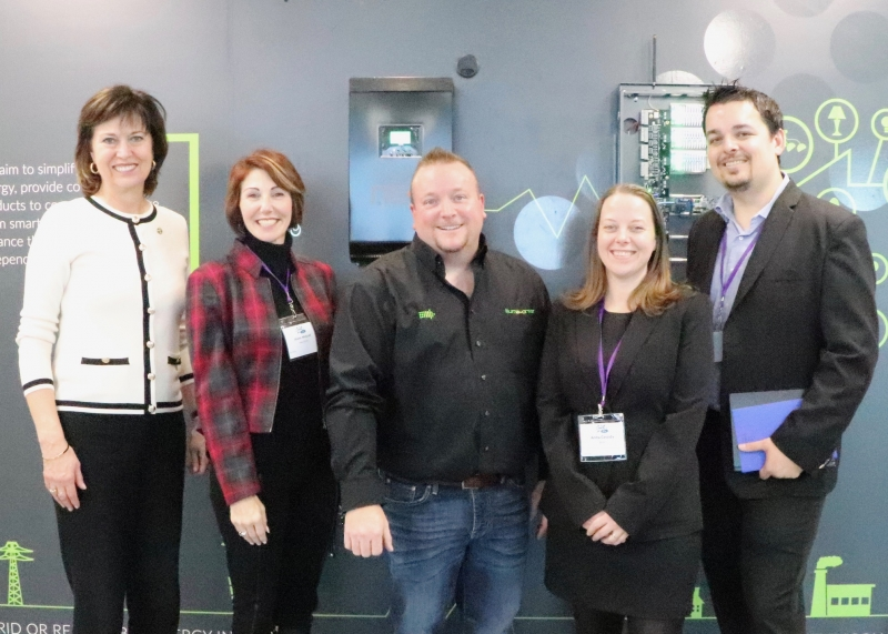 From left to right: Pam Damoff, Member of Parliament Oakville North-Burlington, Shann McGrail, Executive Director at Haltech Regional Innovation Centre, Derek Hopkins, Founder/President and CEO at iLLUMA-Drive, Anita Cassidy, Acting Executive Director at Burlington Economic Development Corporation and Mark Steffler, Manager at TechPlace.
