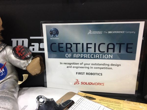 SOLIDWORKS recognition certificate