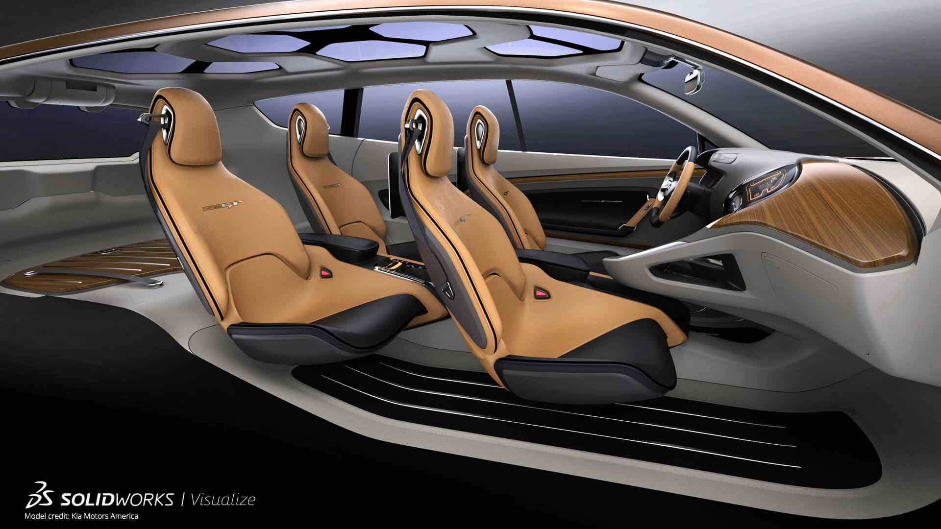 SOLIDWORKS Visualize Connected Example Car Interior