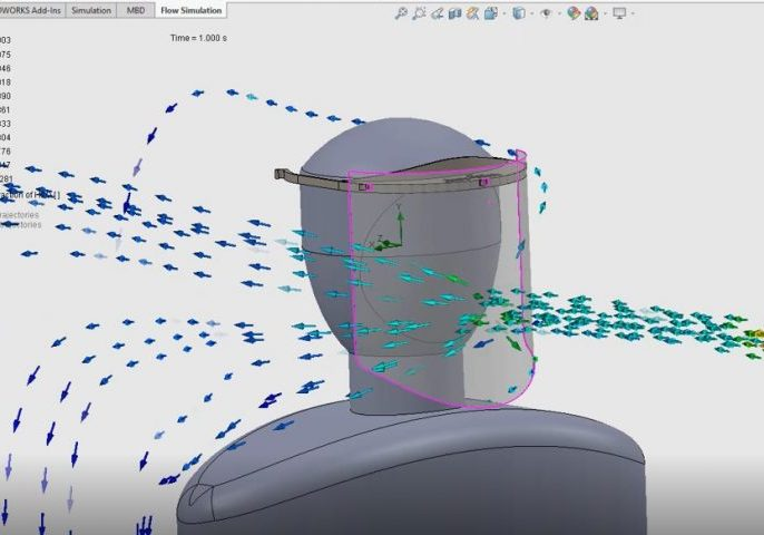 SOLIDWORKS Flow Simulation Face Shield Side View