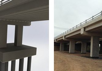 'Before' and after: a SOLIDWORKS render of a bridge compared to a photograph of the bridge taken immediately following construction