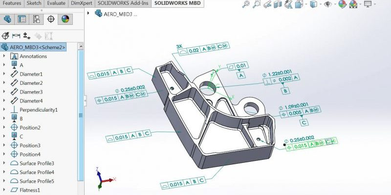 SOLIDWORKS MBD Aerospace Part