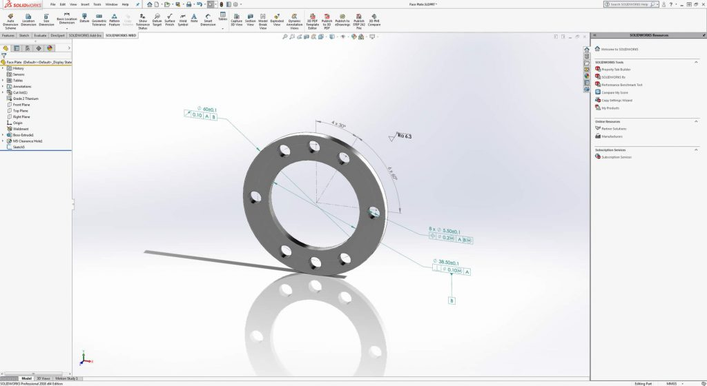 Faceplate in SOLIDWORKS MBD