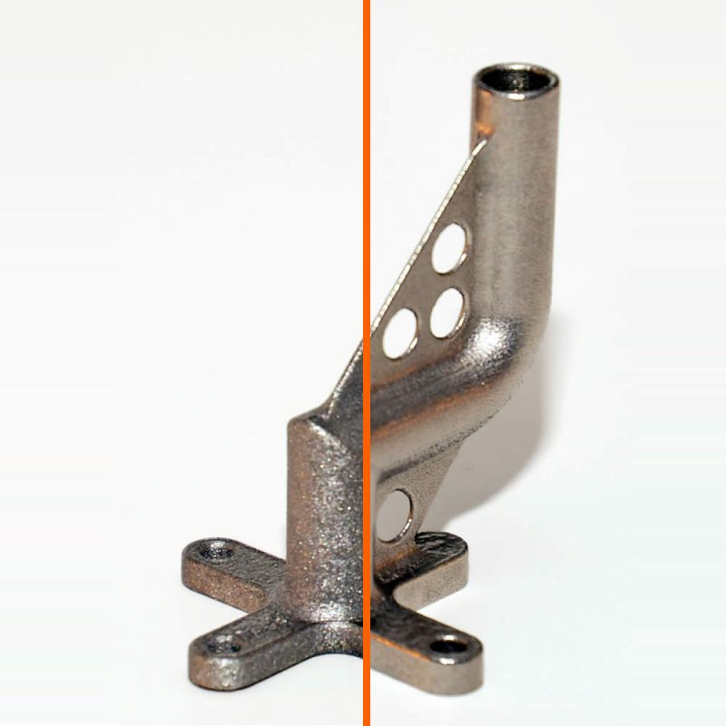 Metal 3D Printed Part before after surface finish process