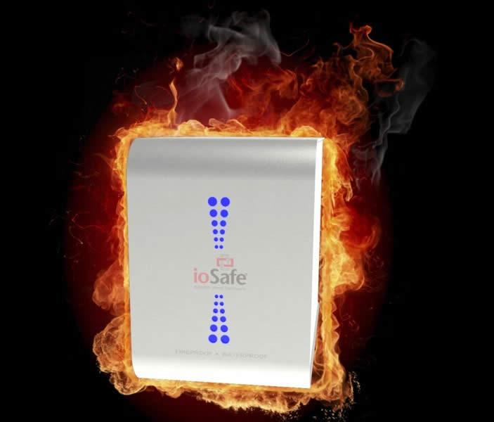 ioSafe hard drive on fire