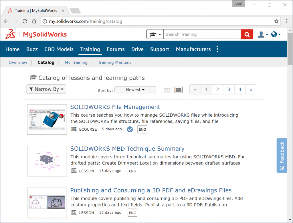 MySolidWorks Lessons & Learning Paths