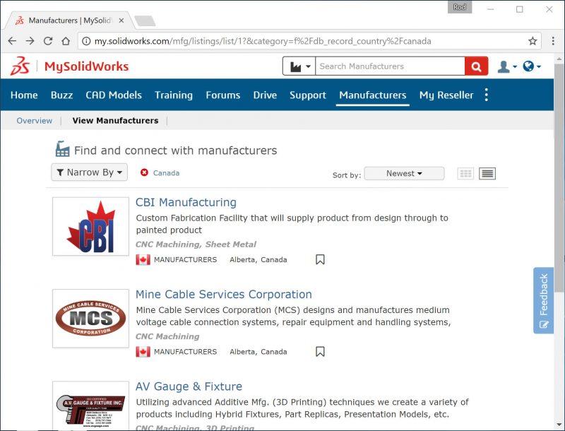 MySolidWorks Manufacturers