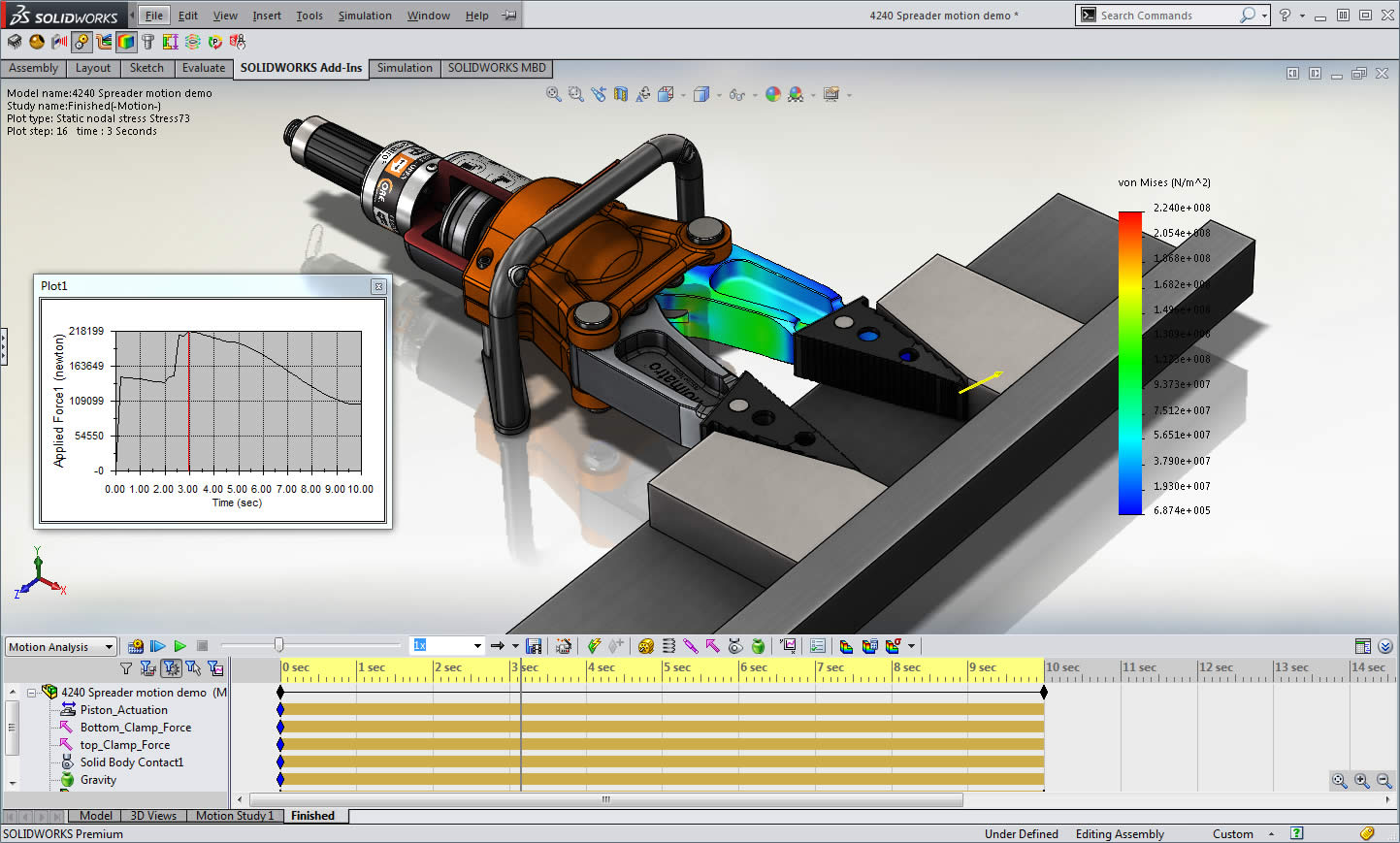 SOLIDWORKS Motion is a physics-based kinematic motion