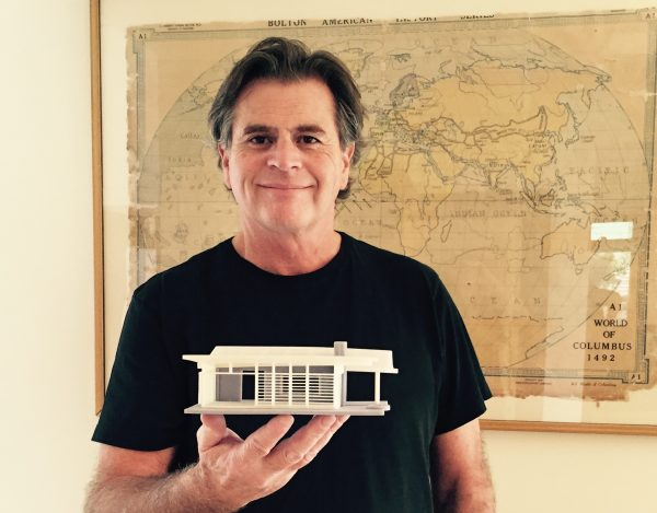 Timm Williams, a partner at CarrotWerx Creative, with a 3D Printed Architectural Model