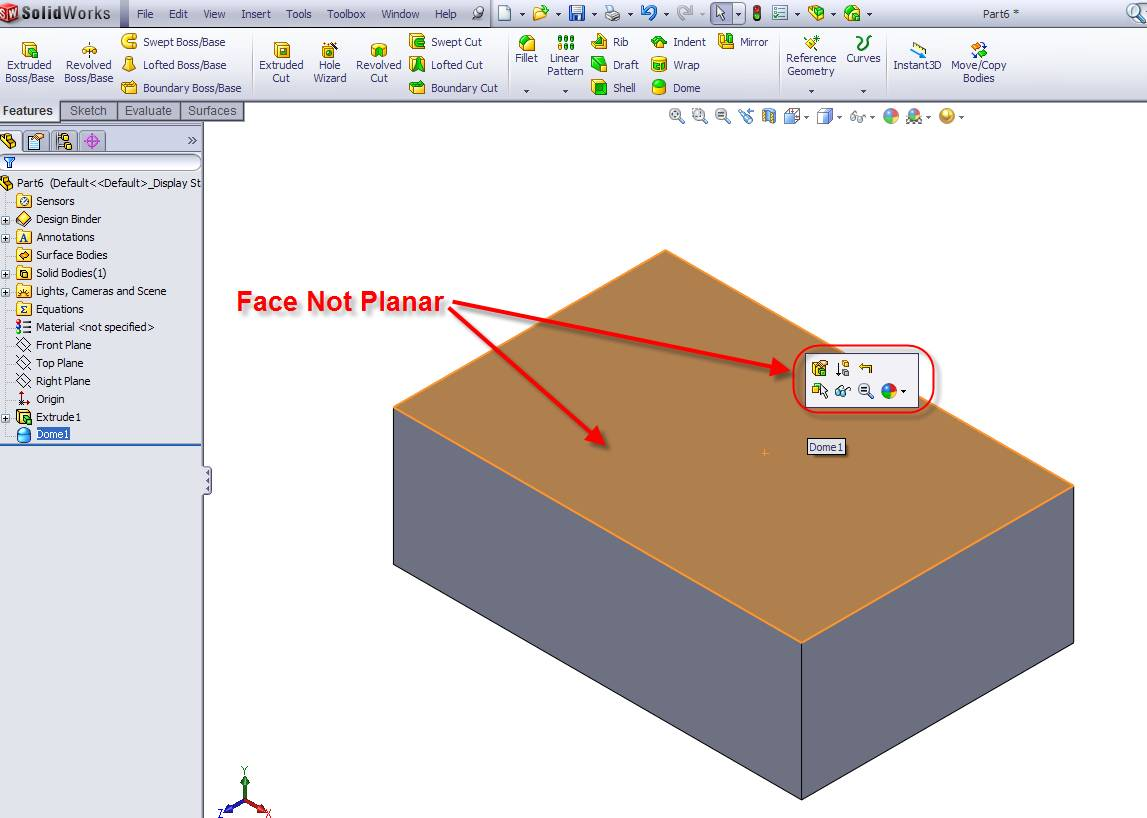 SOLIDWORKS Face is NOT Planar
