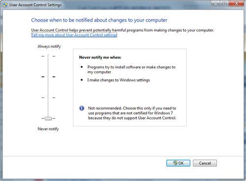 Disabling Windows 7 UAC