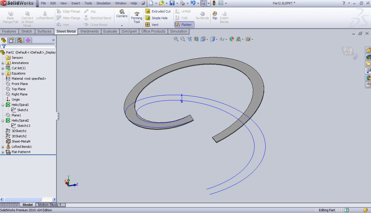 How To Create A Spiral Helical Sheet Metal Model