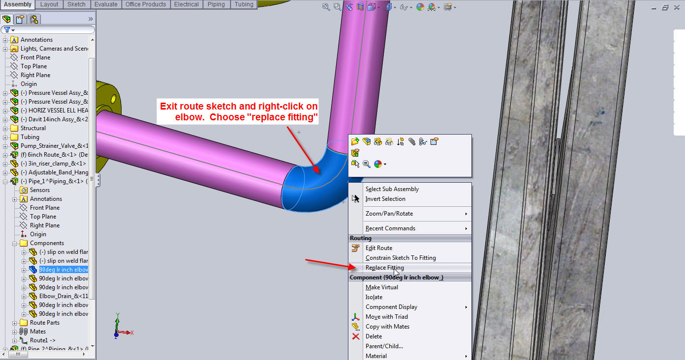 How to substitute a custom elbow into a Pipe Route