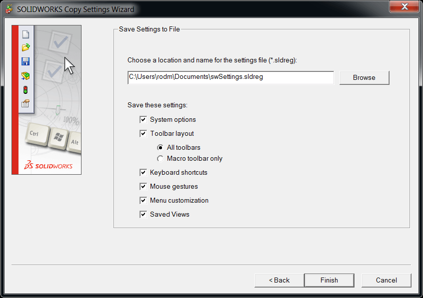 Copy Setting Wizard Save Settings