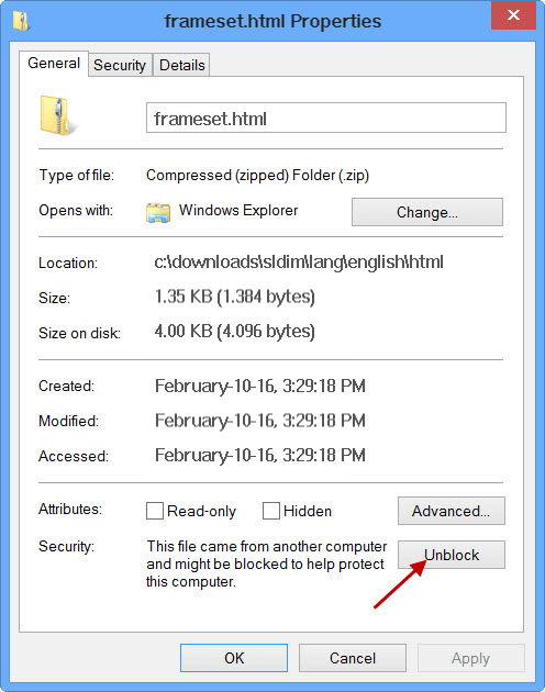 How to unblock file