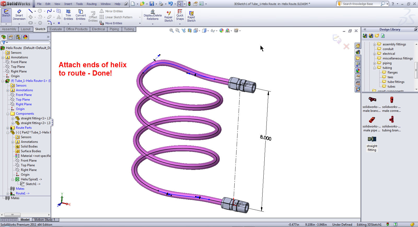 3D Sketching a Helix for a Pipe Route for SOLIDWORKS Routing
