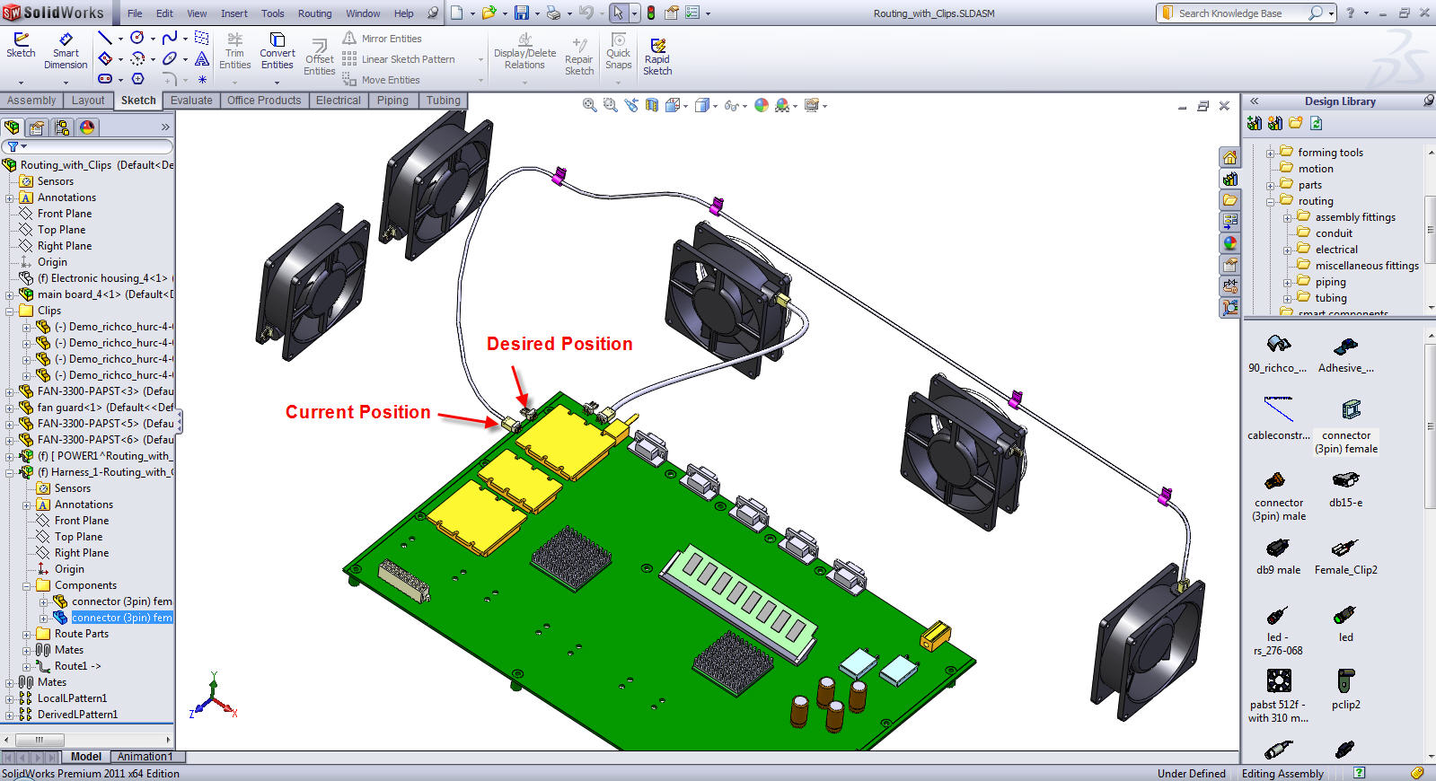 Solidworks Routing Remating A Routing Connector To Change