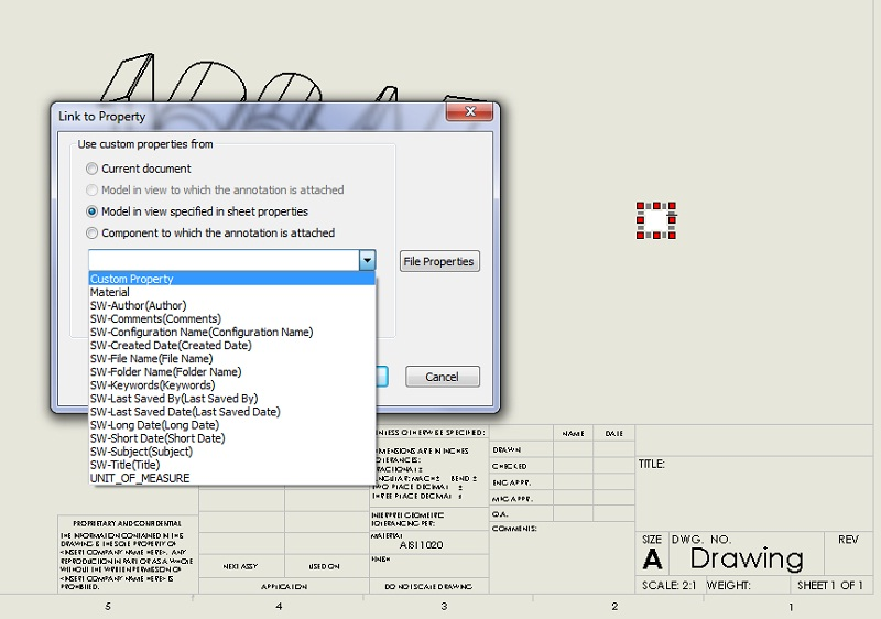 SOLIDWORKS linked drawing notes