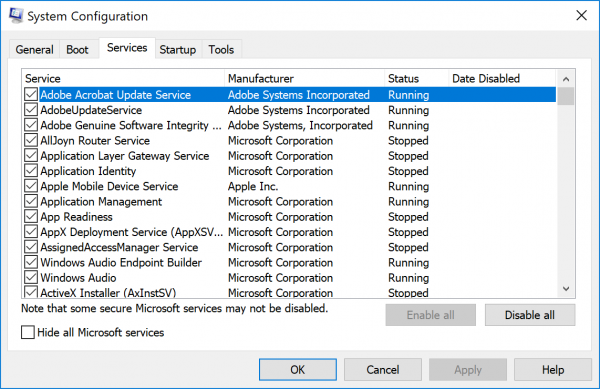 System Configuration Services