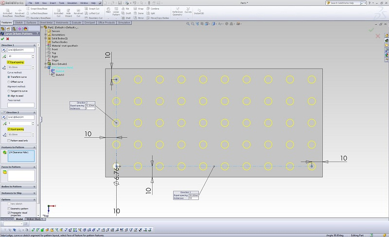 SOLIDWORKS Curve Driven Pattern Instances