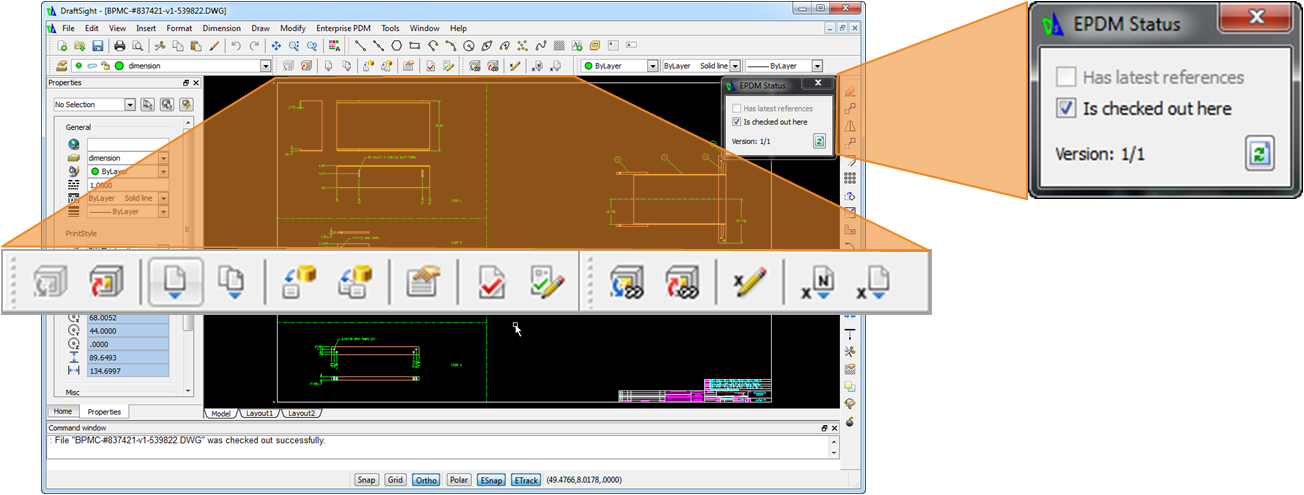 SolidWorks EPDM Toolbar in DraftSight