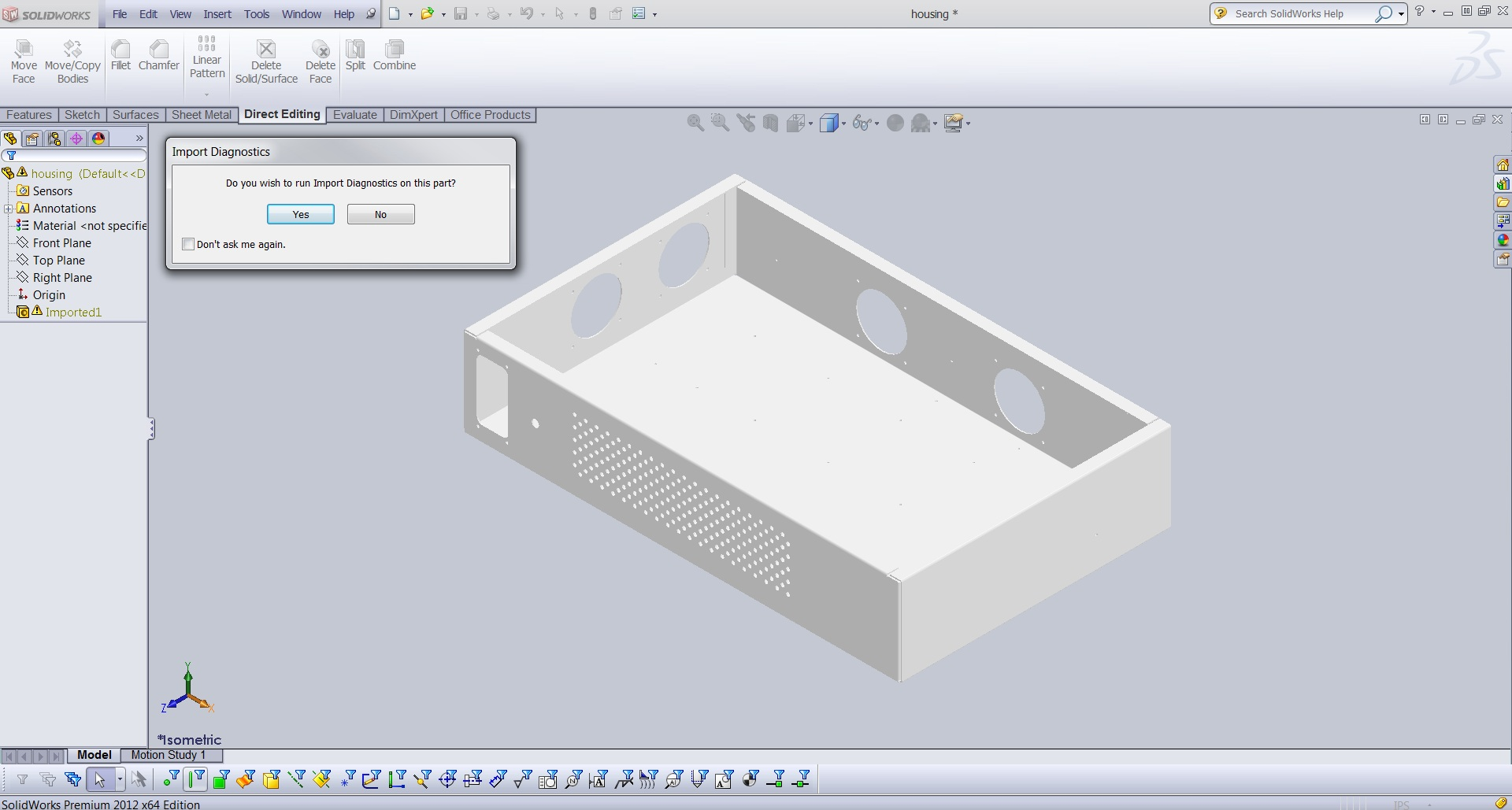 Solidworks Sheet Metal Import For Step Iges Parasolid Etc