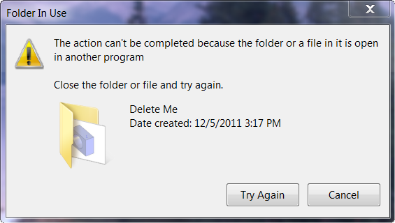 Folder in use dialog box