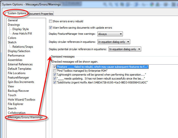 Controlling SOLIDWORKS Warning Messages