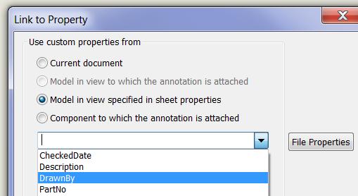 Model in view specified in sheet properties