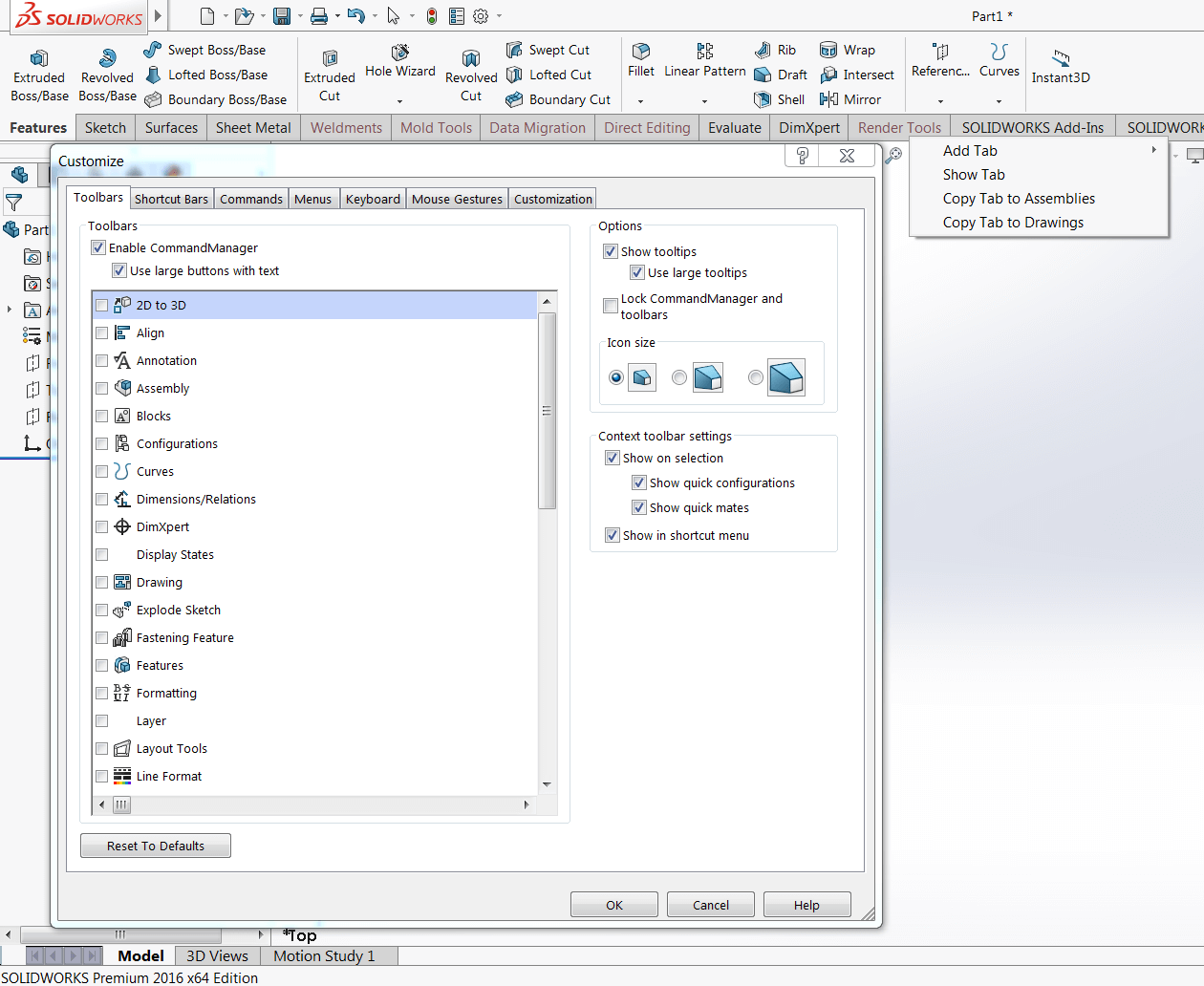Customize SOLIDWORKS CommandManager Tabs