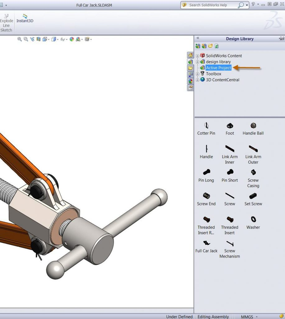 SOLIDWORKS Design Library Active Project