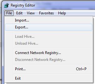 Export from Registry Editor