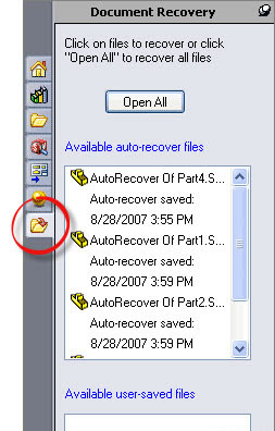 SolidWorks Auto-recovery tab