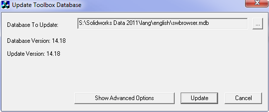 How to manually update SOLIDWORKS Toolbox in a SOLIDWORKS PDM Vault