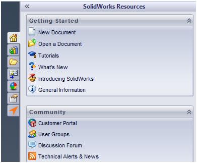 SolidWorks 2012 Task Pane