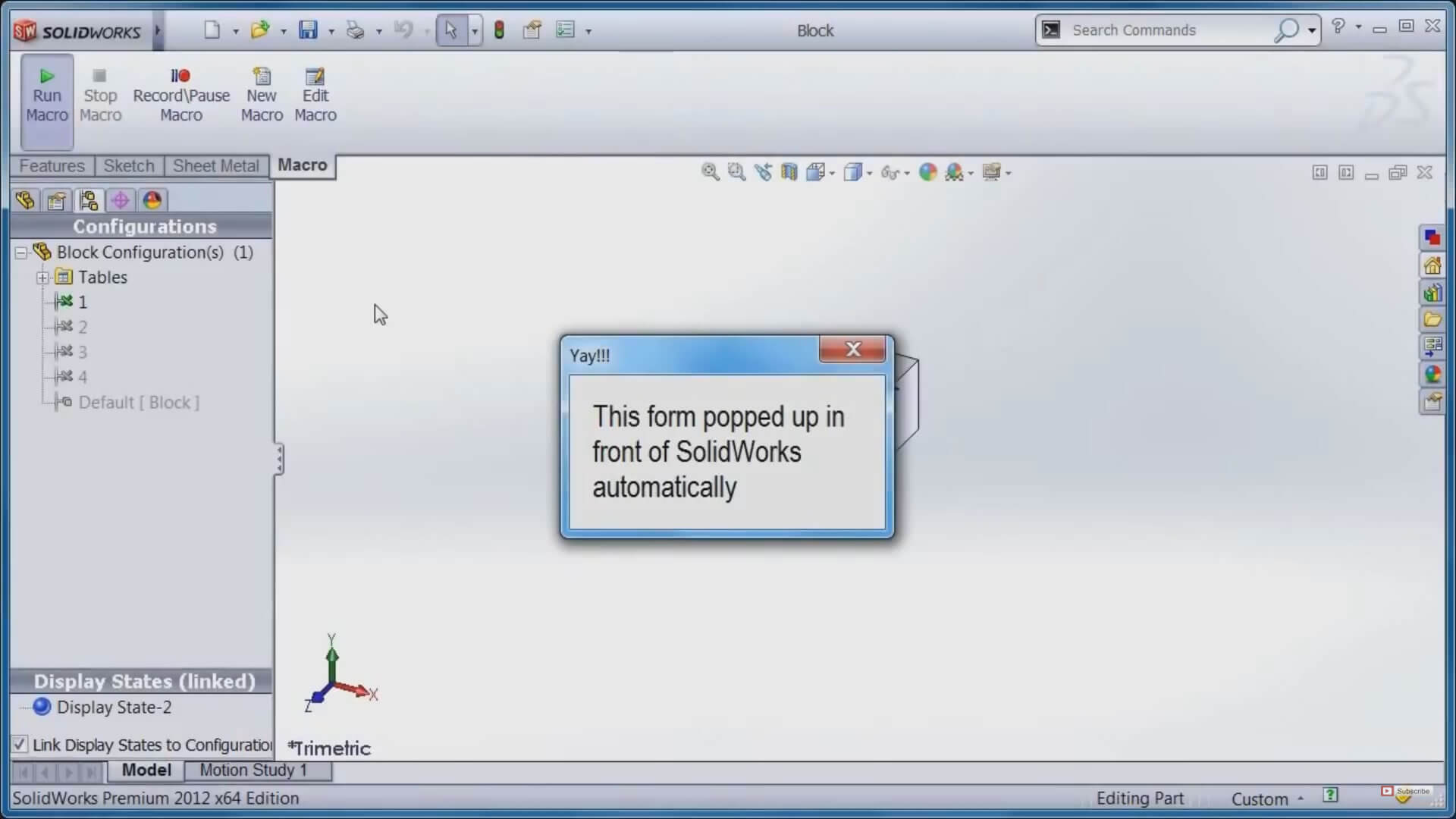 SOLIDWORKS Popup Dialog Window