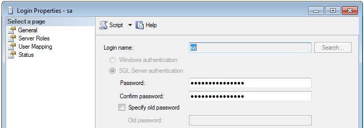 sa password