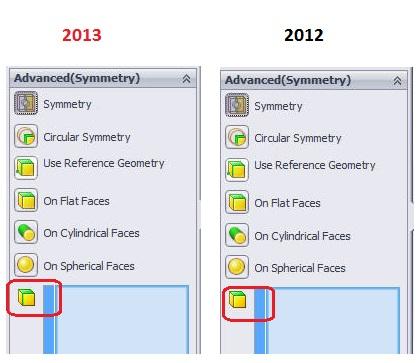 SOLIDWORKS Simulation Shell Elements Symmetry 2013 vs 2012