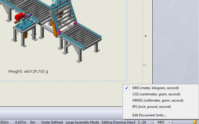 SOLIDWORKS Drawing Mass Units