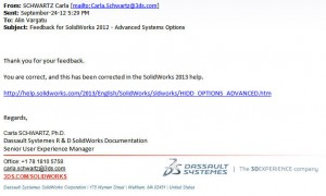 Fig. 4. SolidWorks has acted on my feedback