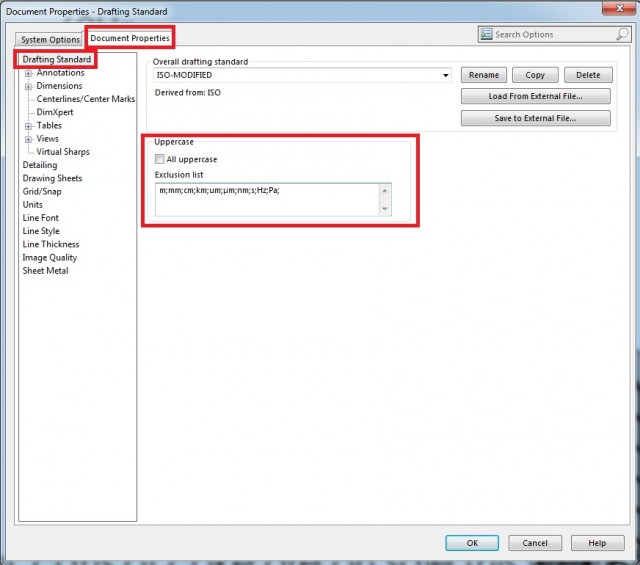Tools > Options, then under the Document Properties tab, select Drafting Standard from the list on the left
