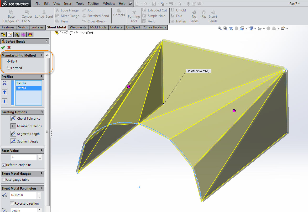 Solidworks 2014 Bent Lofted Bends Video