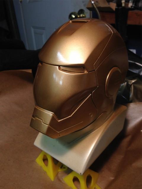 Gold paint sprayed