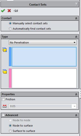 solidworks simulation no penetration