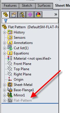 Solidworks Sheet Metal Flat Pattern Displays A Bent Part