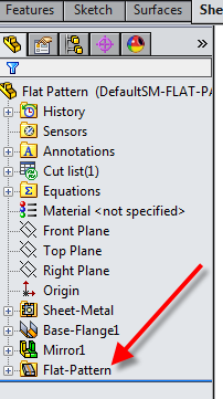 Flat-Pattern feature is unsupressed