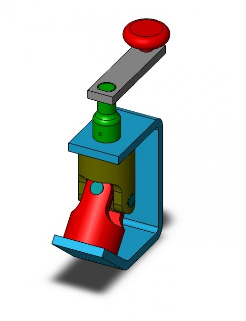 A SolidWorks assembly using different colours for different parts