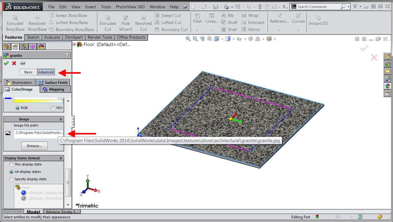 apparence solidworks